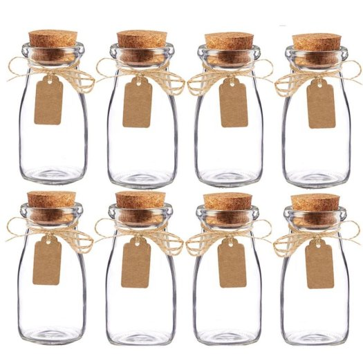 similar glass spice jars with cork lid