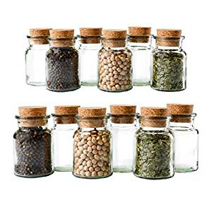 glass spice jars with cork lid